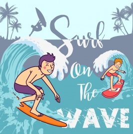 beach summer banner surfer icons colored cartoon