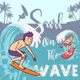 beach summer banner surfer icons colored cartoon