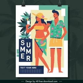 beach summer poster couple icon colorful classical design
