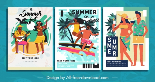beach summer posters colorful classical design