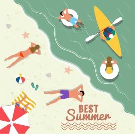 beach summer vacation banner colored cartoon higher view
