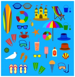 beach symbol icons isolated with various colored types