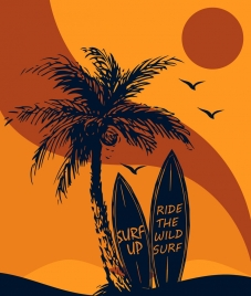 beach vacation background coconut surfboard sun icons