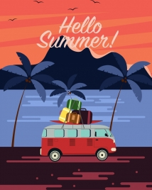 beach vacation banner bus luggage coconut icons decor