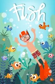 beach vacation drawing snorkeling boy fish icons decor