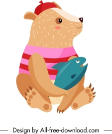 bear animal icon stylized cartoon sketch