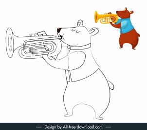 bear icon funny stylized sketch handdrawn cartoon