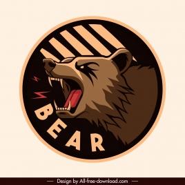 bear label template fierce emotion classical design
