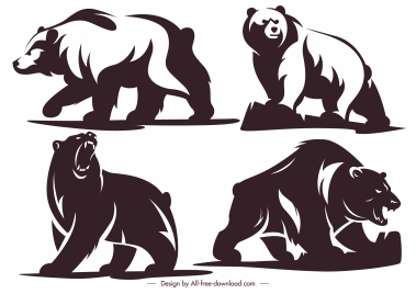 bears icons motion sketch silhouette decor