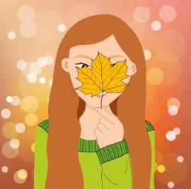 beautiful woman painting leaf hidden face bokeh decor