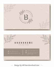 beauty business card template elegant handdrawn leaf decor