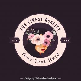 beauty logo template botany woman face mask sketch