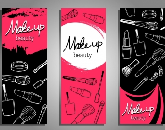 beauty salon advertising dark black red handdrawn icons