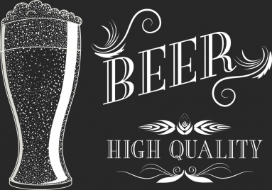 beer advertisement black white retro design calligraphy decoration