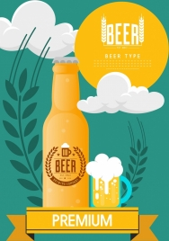 beer advertisement bottle cup flowers icons ornament