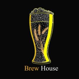 beer advertising glass barley icons dark design