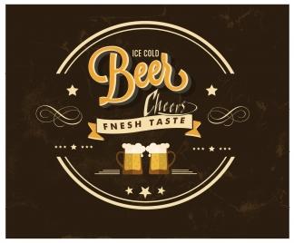 beer bar label design on dark background