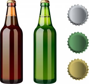beer bottles lid icons shiny colored design