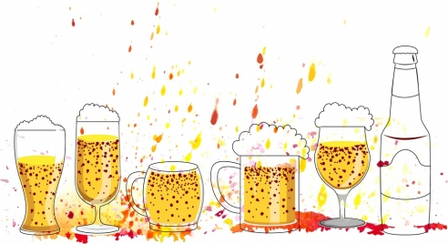 beer cheering drawing bottle glass icons sketch
