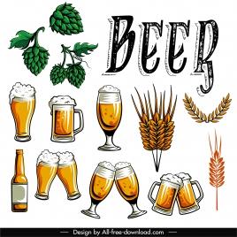 beer design elements vintage symbols sketch