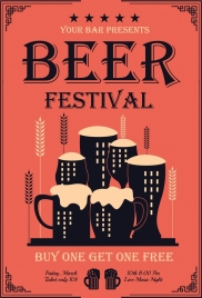 beer festival poster glass barley icons classical decor