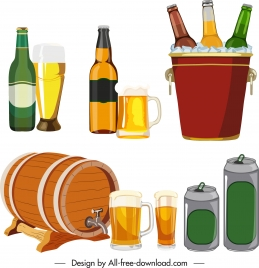 beer icons colored bottle glass can barrel sketch