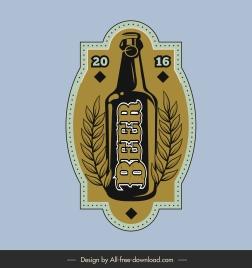 beer label template flat retro bottle leaves decor