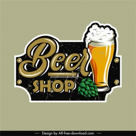 beer label template glass sketch retro decor