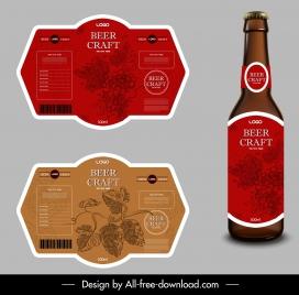 beer label templates flowers decor classic design