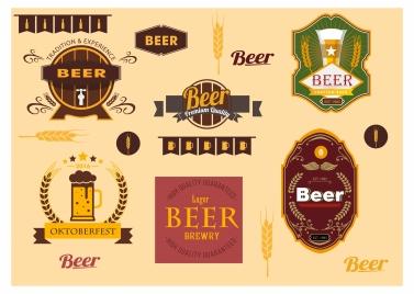beer labels sets with vintage design style
