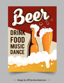 beer party banner classic foam glass bottle sketch