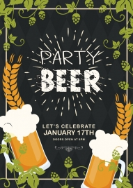 beer party banner foam glass flowers texts decoration