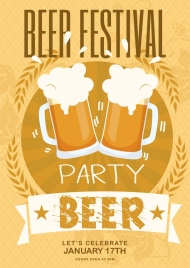 beer party banner yellow design foam glass icons