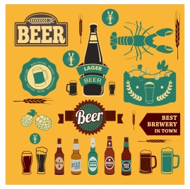 beer promotion design elements collection in various styles