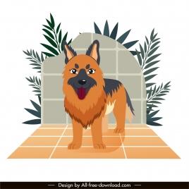 berger dog painting cute cartoon character sketch