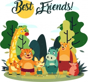 best friends banner cute stylized animals icons