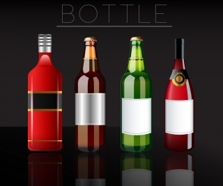 beverage advertising shiny multicolored bottles realistic design