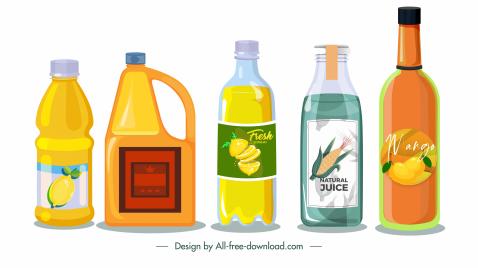 beverage bottle labels templates colored flat classic sketch