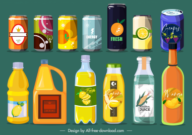 beverage cans bottles icons colorful contemporary sketch