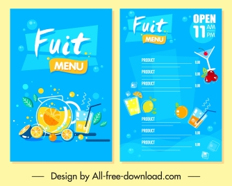 beverage menu template bright colorful fruits decor