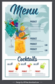 beverage menu template dynamic fruit juice decor