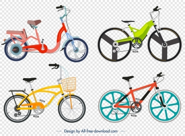 bicycle advertising background colorful modern icons decor
