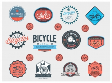 bicycle label and logo sets in vintage style