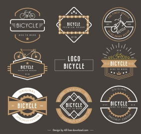 bicycle labels templates classic dark shapes