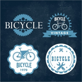 bicycle logo sets retro blue ornament