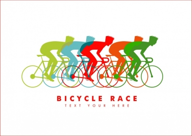 bicycle race banner colorful silhouettes cyclist