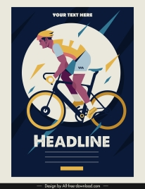 bicycle race poster cyclist icon classical design