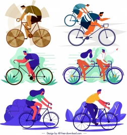 bicycle riding activities icons cartoon sketch