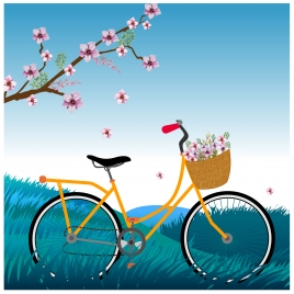 bicycle with sakura flower in a romatic scene