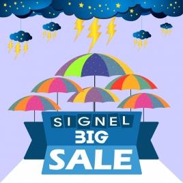 big sale banner cloud thunderbolt umbrella icons decoration